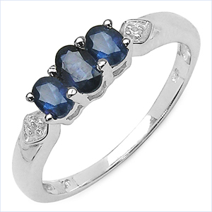 0.86CTW Genuine Blue Sapphire & White Topaz .925 Sterling Silver Ring