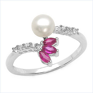 1.67CTW White Pearl & Ruby .925 Sterling Silver Ring