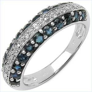 1.14CTW Genuine Blue Sapphire & White Topaz .925 Sterling Silver Ring