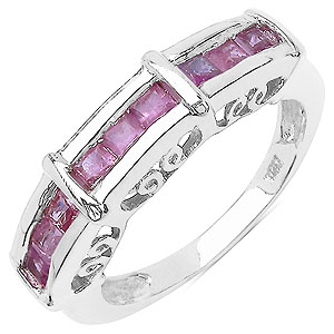 1.08CTW Genuine Pink Sapphire .925 Sterling Silver Ring