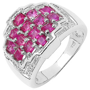 1.70CTW Genuine Pink Sapphire & White Topaz .925 Sterling Silver Ring