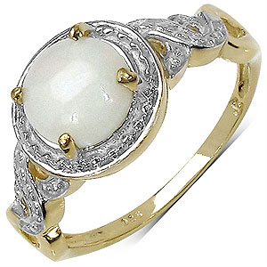 1.25CTW Genuine Opal 14K Yellow Gold Plated .925 Sterling Silver Ring