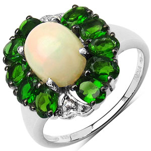 """3.19CTW Genuine Opal, Chrome Diopside & White Topaz .925 Sterling Silver Ring"""