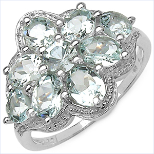 2.61CTW Genuine Aquamarine .925 Sterling Silver Ring