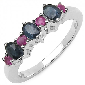 0.95CTW Blue Sapphire & Ruby .925 Sterling Silver Ring