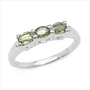 0.75CTW Genuine Green Sapphire .925 Sterling Silver Ring