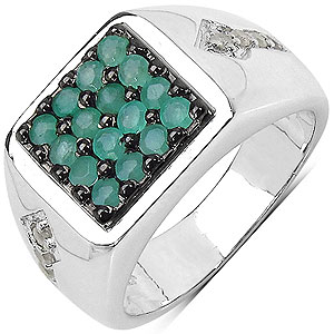 0.92CTW Genuine Emerald & White Diamond .925 Sterling Silver Ring
