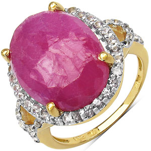 10.01CTW Genuine Pink Sapphire & White Topaz 14K Yellow Gold Plated .925 Sterling Silver Solitaire Ring