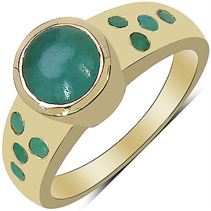 1.86CTW Genuine Emerald & White Diamond 14K Yellow Gold Plated .925 Sterling Silver Ring