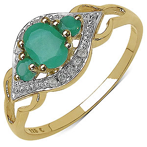 0.64CTW Genuine Emerald & White Diamond 14K Yellow Gold Plated .925 Sterling Silver Ring