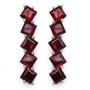 9.80CTW Genuine Garnet .925 Sterling Silver Earrings