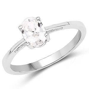 Oval Shape White Cubic Zirconia .925 Sterling Silver Solitaire Ring