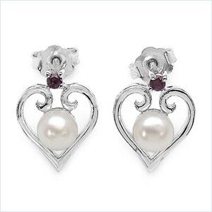 2.10CTW White Pearl & Rhodolite .925 Sterling Silver Earrings
