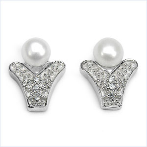 0.76CTW Genuine Pearl & Cubic Zircon .925 Sterling Silver Earrings