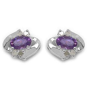 0.63CTW Genuine Amethyst & White Diamond .925 Sterling Silver Earrings