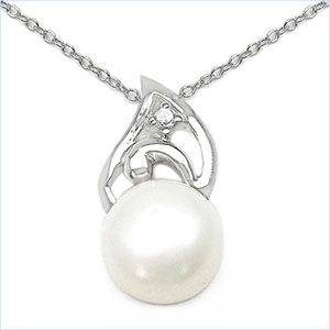 2.28CTW White Pearl & Cubic Zirconia .925 Sterling Silver Pendant