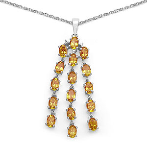 7.20CTW Genuine Citrine .925 Sterling Silver Pendant