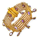 25.80 Grams Genuine Amethyst Gold Plated Brass Bracelet