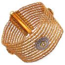 35.00 Grams Genuine White Topaz Gold Plated Brass Bracelet
