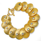 42.00 Grams Genuine White Topaz Gold Plated Brass Bracelet