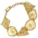 27.70 Grams Genuine White Topaz Gold Plated Brass Bracelet