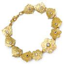 16.00 Grams Genuine White Topaz Gold Plated Brass Bracelet