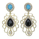 30.00 Grams Gold Plated Earrings with Combination of Turquoise & Black Stone