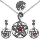 19.80 Grams Red Onyx & Marcasite .925 Sterling Silver Pendant Set