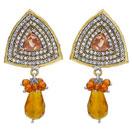 13.60 Grams Brown Onyx & White Cubic Zircon Copper Earrings