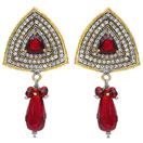 12.10 Grams Red Onyx & White Cubic Zircon Copper Earrings
