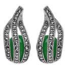 8.10 Grams Green Onyx & Marcasite .925 Sterling Silver Earrings