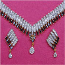 61.30 Grams Black Sapphire & White Cubic Zirconia Gold Plated Brass Necklace Set