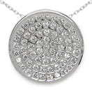 1.50 Grams Micro Pave Setting American Diamond Rhodium Plated Copper Round Shape Pendant