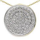1.30 Grams Micro Pave Setting American Diamond Gold Plated Copper Round Shape Pendant