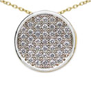 0.80 Grams Micro Pave Setting American Diamond Gold Plated Copper Round Shape Pendant