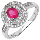 2.30 Grams Pink Cubic Zirconia & White Cubic Zirconia.925 Sterling Silver Ring