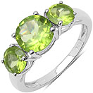 2.35CTW Genuine Peridot .925 Sterling Silver Round Shape 3 Stone Ring