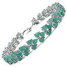 13.50CTW Genuine Emerald .925 Sterling Silver Bracelet