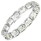 69.00CTW Genuine Green Amethyst .925 Sterling Silver Tennis Bracelet