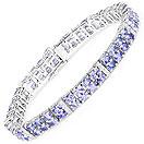 12.33CTW Tanzanite & White Topaz .925 Sterling Silver Bracelet