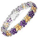 24.03CTW Genuine Amethyst & Citrine .925 Sterling Silver Butterfly Shape Tennis Bracelet