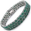 27.27CTW Genuine Emerald .925 Sterling Silver Bracelet