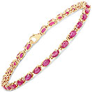 7.75CTW Glass Filled Ruby 14K Yellow Gold Plated .925 Sterling Silver Bracelet
