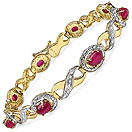 7.04CTW Glass Filled Ruby 14K Yellow Gold Plated .925 Sterling Silver Bracelet