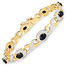 5.20CTW Genuine Sapphire Gold Plated .925 Sterling Silver Bracelet