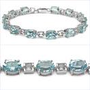 20.80CTW Genuine Blue Topaz .925 Sterling Silver Bracelet