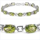 15.60CTW Genuine Peridot .925 Sterling Silver Bracelet
