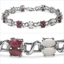 7.46CTW Genuine Opal & Ruby .925 Sterling Silver Bracelet