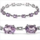11.90CTW Genuine Amethyst .925 Sterling Silver Bracelet