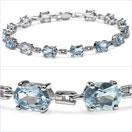 14.00CTW Genuine Blue Topaz .925 Sterling Silver Bracelet